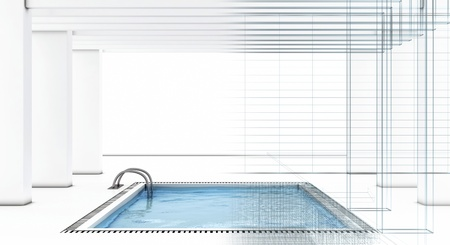 3D image of luxury swimming pool with wire-frame photo