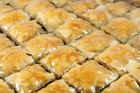 Traditional Turkish dessert Baklava - ready to be served Stock Photo