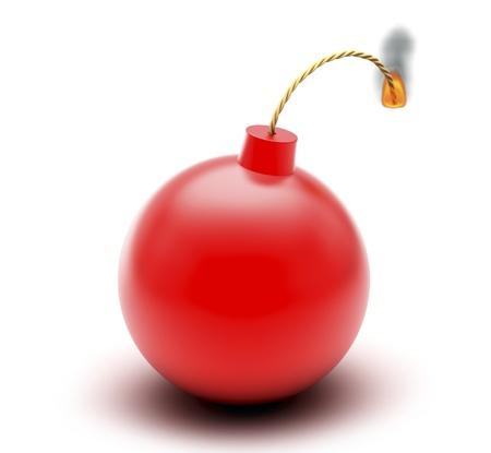 sabotage: Red bomb isolated on white