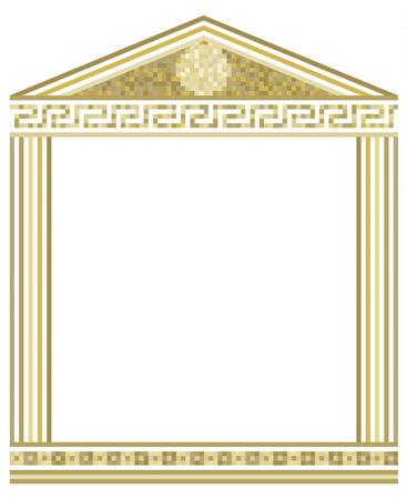 Abbildung der griechischen Spalten mit Mosaik an der Spitze