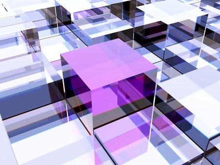 One purple cube against other cubes, symbolizing leadership, uniqueness or different thinking