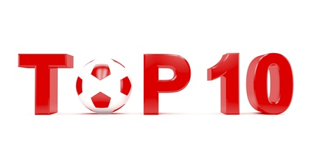 Text TOP 10 with football (soccer) ball instead letter O photo