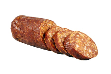 gastronome: Sliced smoked sausage isolated on white background