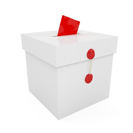 Sealed with wax ballot box with inserted paper Stock Photo