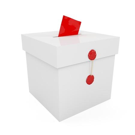 Demokratie: Versiegelt mit Wachs Wahlurne mit eingef�gten Papier