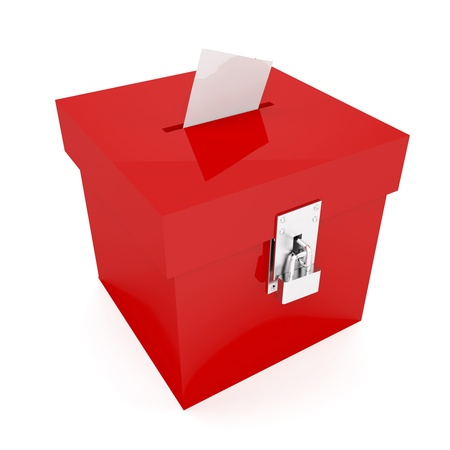 an opinion: Red ballot box with inserted vote