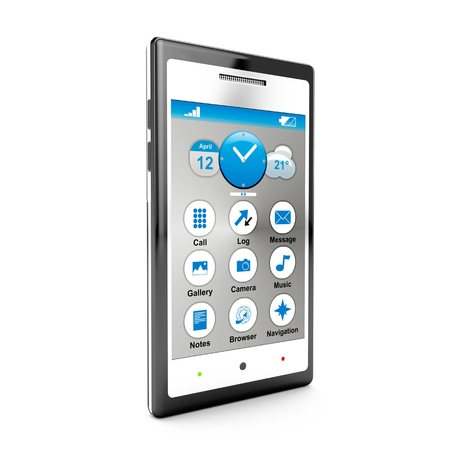 mobile headset: 3D smartphone con pantalla t�ctil aislado en blanco