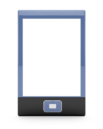 E-book reader with empty screen on white background. 3d image. Stock Photo - 10191020