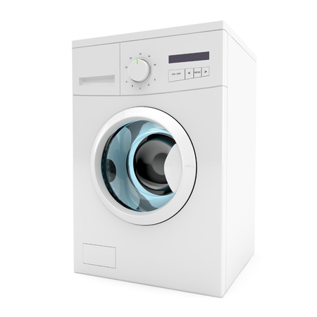 3d image of washing machine on white background photo