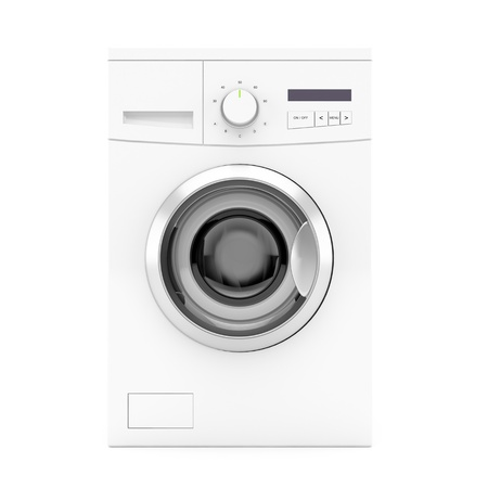 세탁기: 흰색 배경에 세탁기의 전면 뷰. 3D 이미지.
