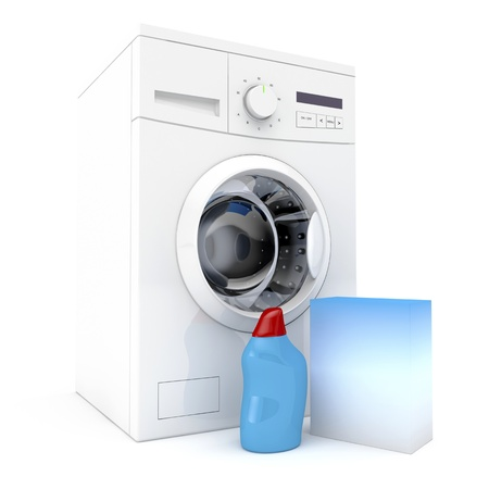 detergents: Washing machine with bottle of liquid detergent and laundry powder