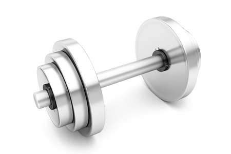 Dumbbell weights on white background