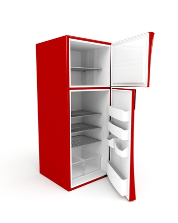 3d image of empty fridge with opened doors photo