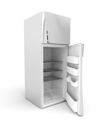Silver modern fridge with opened door. 3d image. Фото со стока