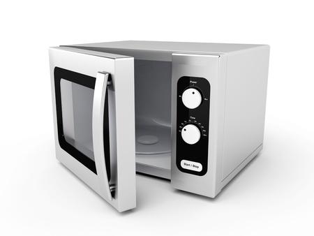 microwave oven: Horno de microondas plata con puertas abiertas sobre fondo blanco Foto de archivo