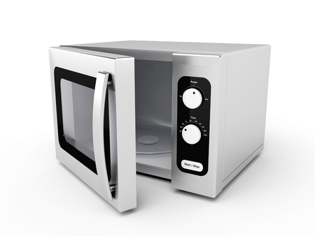 defrost: Silver microwave oven with open door on white background