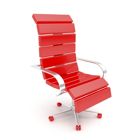 director chair: Modern red office armchair on white background. 3d image. Stock Photo