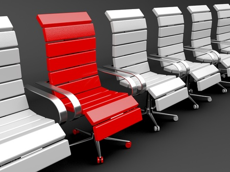Red armchair for leader and gray for others - leadership concept