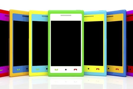 Multicolored smartphones with empty black screen photo