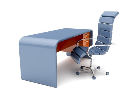 ergonomic: Workplace with minimalistic designed desk and blue chair