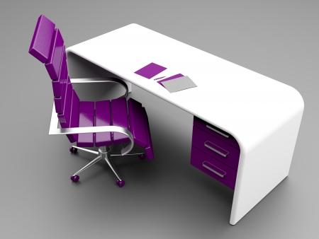 mobilier bureau: En milieu de travail �l�gant avec la Chaire de pourpre et blanc bureau avec les papiers et stylo sur elle Banque d'images