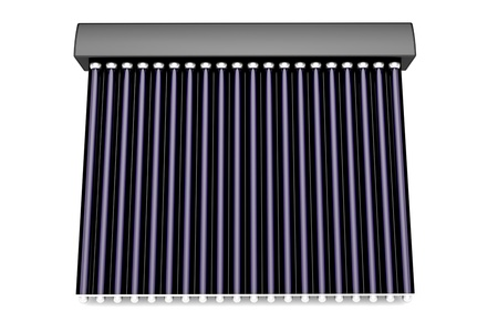 Front view of solar water heater on white background