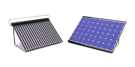 Solar water heater and solar panel for electricity photo