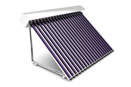 thermal energy: Solar water heater on white background Stock Photo