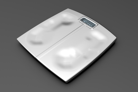 Metal weight scale with footprints on gray background photo