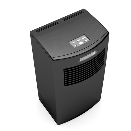 ionizer: Black mobile air conditioner on white background