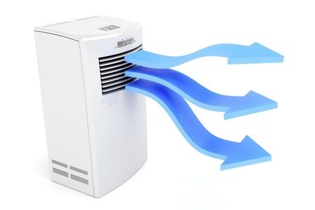 Air conditioner blowing cold air on white background Stock Photo