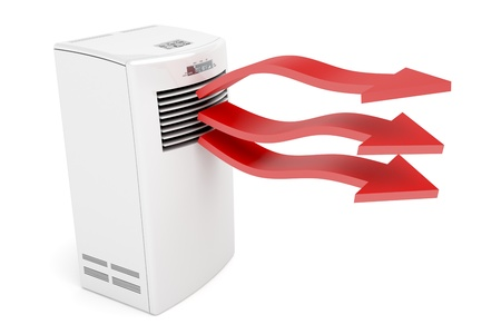 humidity: Air conditioner blowing hot air on white background Stock Photo