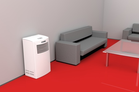 room air: Modern living room cooled with mobile air conditioner Stock Photo