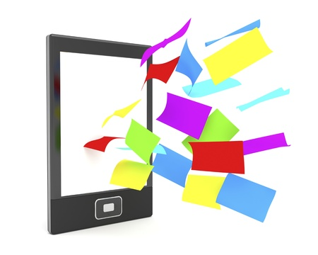 E-book reader with flying colorful papers on white background photo