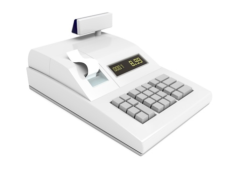 maquina registradora: Caja registradora aislada sobre fondo blanco