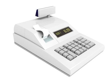 caja registradora: Caja registradora aislada sobre fondo blanco