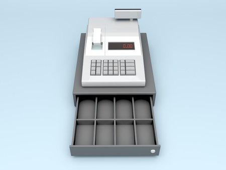 cash: 3d illustration of cash register without money Stock Photo