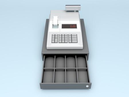 caja registradora: 3d ilustración de la caja registradora sin dinero