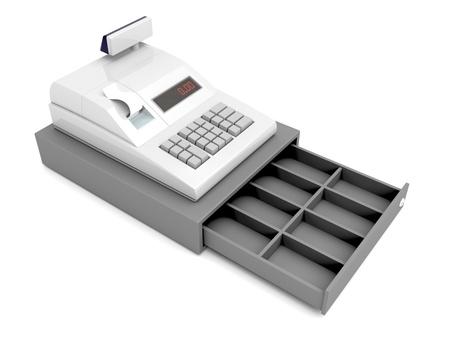 Caisse enregistreuse avec tiroir vide ouvert Banque d'images