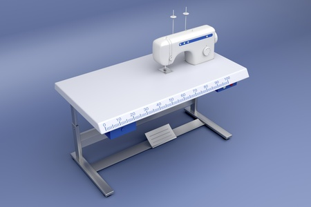 industrial machine: 3d illustration of industrial sewing machine on blue background