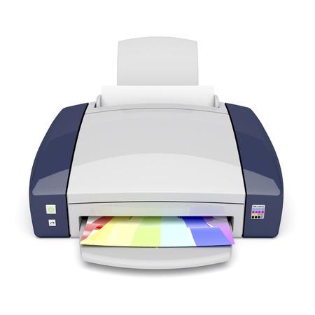 inkjet: Inkjet printer on white background. Front view. Stock Photo