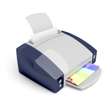 3d color printer on white background photo