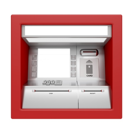 automatic transaction machine: Vista frontal del cajero autom�tico aislado en blanco