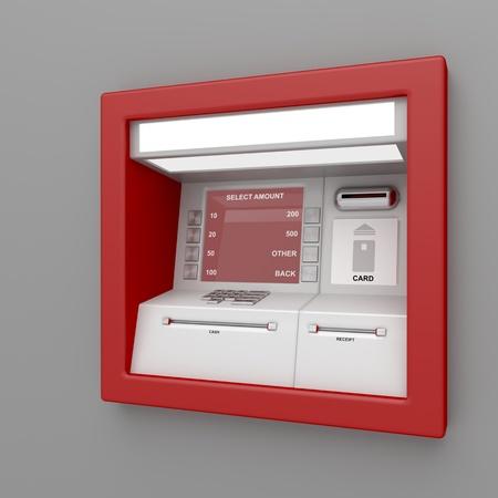 automatic transaction machine: Cajero automático en la pared gris Foto de archivo