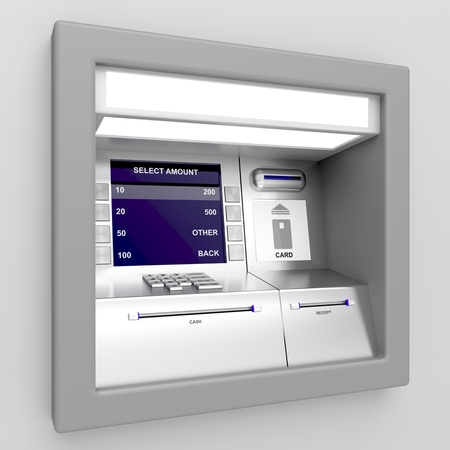 Automated teller machine on gray background photo