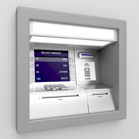 Automated teller machine op een grijze achtergrond Stockfoto