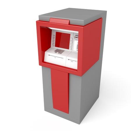 automatic transaction machine: 3d ilustración de la ATM en el fondo blanco