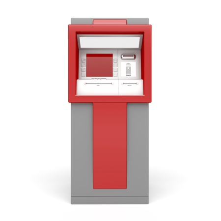 3d illustration of ATM on white background. Front view.