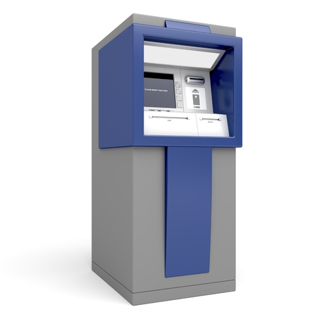 Automated teller machine on white background photo