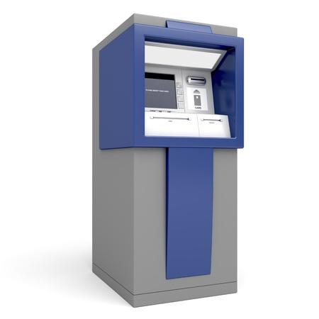 Geldautomaat op een witte achtergrond Stockfoto